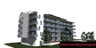 Brf Salmo Salar Halmstad - Här monterade vi upp 1.300m2 StoVentec på fasaden samt putsade sockeln med StoNordic
